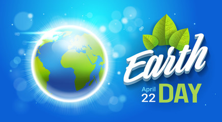 Happy Earth Day Poster Planet Protection Holiday Greeting Card Flat Vector Illustration