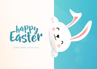 Happy Easter poster with white cute funny smiling rabbit