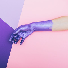 pearly purple hand. ultra violet concept. pastel minimal. beauty and fashion