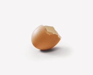 broken eggshell on white