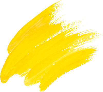 Yellow watercolor texture paint stain shining brush stroke