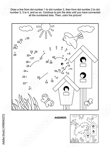 Springtime Themed Connect The Dots Picture Puzzle And Coloring Page With Birds Birdhouses Nestlings