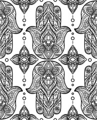 Seamless black pattern with Hamsa. Boho Buddhas hand. Vector background for your wallpaper, textile and your design.