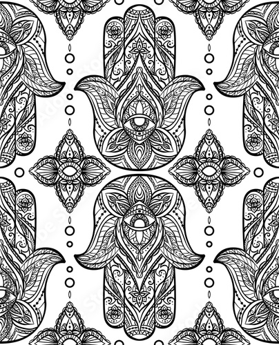 Seamless Black Pattern With Hamsa Boho Buddhas Hand Vector Background For Your Wallpaper