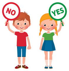 Girl and boy showing signs of yes and no