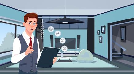 Man Holding Digital Tablet Using Smart Home App Over Living Room Background Modern Technology Of House Monitoring Concept Flat Vector Illustration
