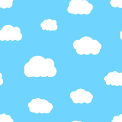 Cartoon white clouds in blue sky seamless pattern, vector illustration.