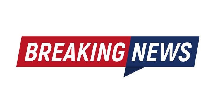 Breaking news headline minimalistic logo on white background. Entertaining show with news. Vector Illustration.