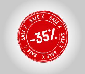 35 Sale Round Stamp