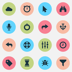 User icons set with bug, find, hourglass and other armature  elements. Isolated vector illustration user icons.