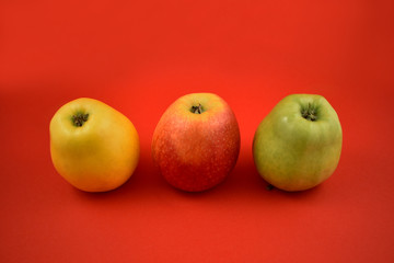 Three colorful apples stock images. Apples on a red background. Three ripe apples. Red, green, yellow apple isolated on a colorful background