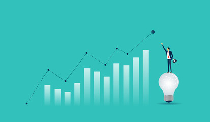 flat businessman standing on light bulb with  business  finance  graph concept