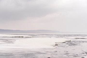 Floe on a frozen lake in the winter