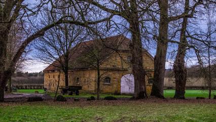 Abandoned historic Westfalian farmhouse in the area of Gutersloh, North-Rhine-Westfalia, Germany