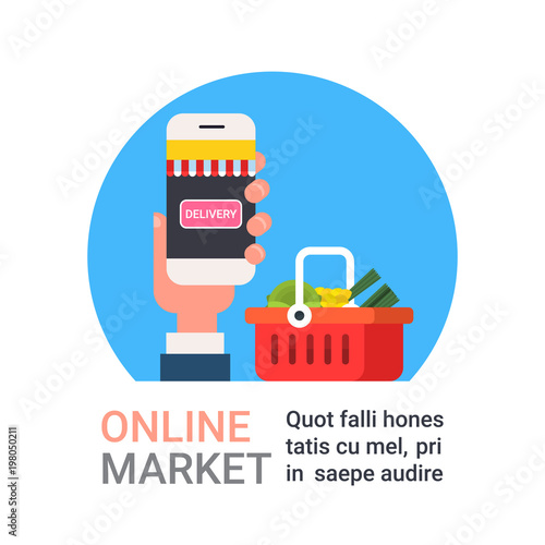 Online Market Icon Hand Holding Smart Phone Buying Grocery