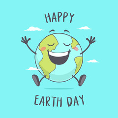 Happy Earth Day. Smiling Planet Earth Cartoon Character.