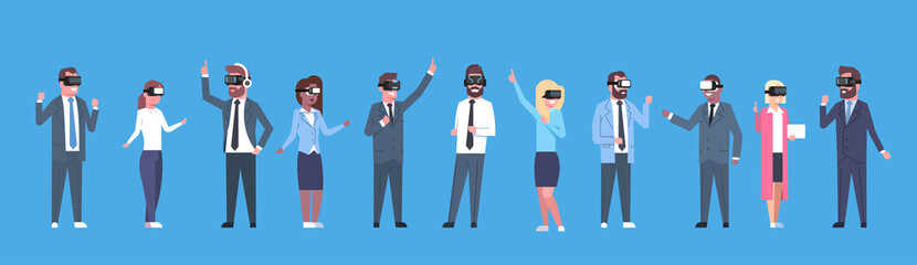 Business People Group Wearing Vr Headset Virtual Reality Glasses Horizontal Banner Flat Vector Illustration
