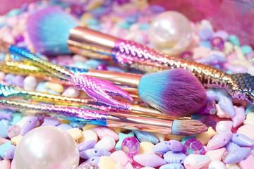 Mermaid rainbow Cosmetic brush on. Pink mermaid inspiration brush set for ladies