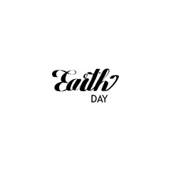 Earth day cursive script lettering on a white background.