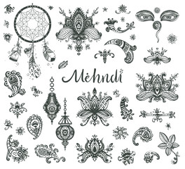 Vector hand drawn set of henna floral lotos elements, eyes and l