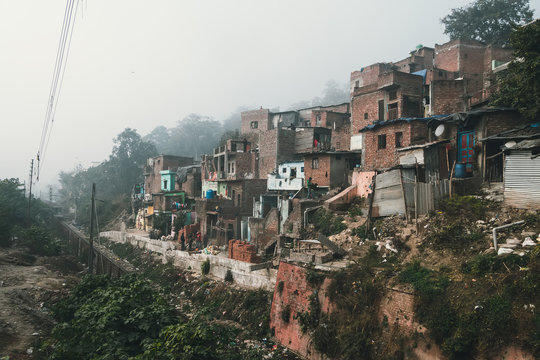 old dirty houses in the slums quarter in Haridwar, India.