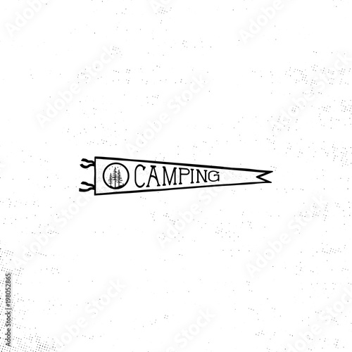 camping pennant template vintage hand drawn pennant in monochrome