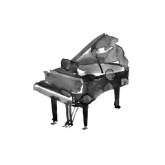 Piano. Musical instruments. Black Isolated on white background. Watercolor illustration