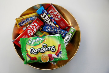 Nestle confectionary products are seen in a bowl at the company's Product Technology Centre in York