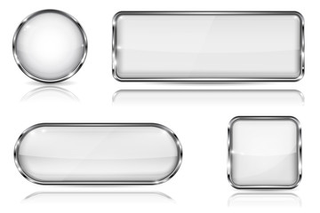 White glass buttons with chrome frame. Set of blank shiny 3d web icons