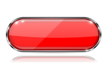 Red glass 3d button with metal frame. Oval shape. With reflection on white background