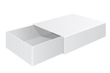 Sliding box. White open box isolated on white background