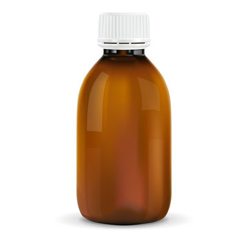 Brown plastic bottle with white cap. For medicine