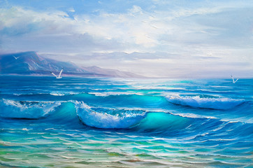 Oil  painting of the sea on canvas.