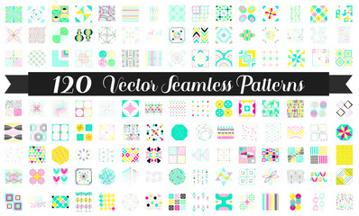 120 Seamless patterns. Colored Vector bundle for background, fabrics, surface textures, wallpaper, pattern fills, web and blog backgrounds, scrapbook. Set of colored geometric endless textures.