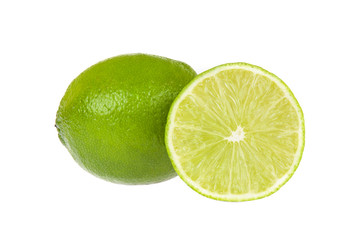 Lime whole and slice isolated on white background