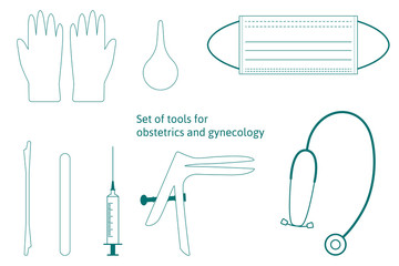 Vector set of instruments for for obstetrics and gynecology. Vaginal speculum, syringe, medicine gloves, mask, spatula, stethoscope. Medical tools for medical investigation. Feminine health diagnosis.
