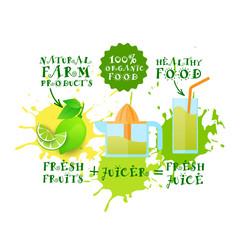 Fresh Juice Logo Lime Juicer Maker Natural Food And Farm Products Concept Paint Splash Background Vector Illustration