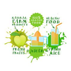 Fresh Juice Logo Apple Juicer Maker Natural Food And Farm Products Concept Paint Splash Background Vector Illustration
