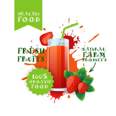 Fresh Strawberry Juice Logo Natural Food Farm Products Label Over Paint Splash Background Vector Illustration