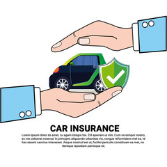 Hands Holding Car Insurance Service Concept With Vehicle With Shield Icon Vector Illustration