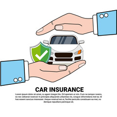 Vehicle Protection Hand Hold Car Insurance Service Concept Vector Illustration