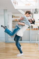 Love couple having fun at home