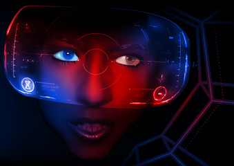 Virtual Reality 3D - Woman Face with VR Display in Abstract Illustration, Vector