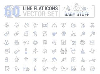 Vector graphic set. Icons in flat, contour, thin, minimal and linear design. Child life accessories. Baby care. Concept illustration for Web site, app. Sign, symbol, element, silhouette.