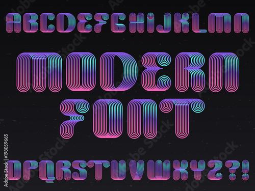 Modern neon lamp letters vector linear striped alphabet