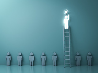 Stand out from the crowd and different concept , One glowing light man on the  ladder got an idea bulb among other no idea people on dark green background with shadow and reflections . 3D rendering.
