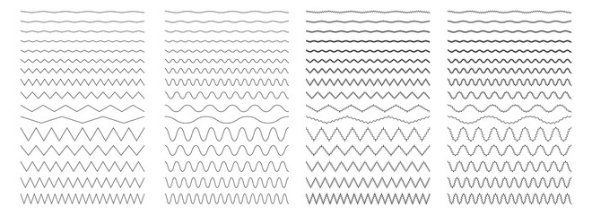 Set of wavy, zigzag, sinuous horizontal lines