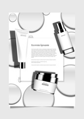 Cosmetic product with template and water drops design for poster flyer brochure leaflet