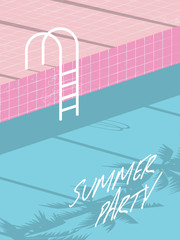 Summer pool party invitation flyer, poster, template, banner with retro swimming pool and steps.