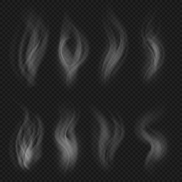 White transparent smoke collection. Hot steam from food isolated on checkered background vector set